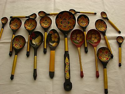 Vtg Handmade Wood Wooden Spoon Set Old Decorative Russian Folk Art Painted Ladle