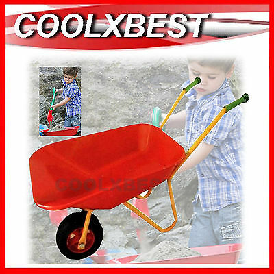 New Children Kids Wheelbarrow Garden Pretend Play Toy Wheel Barrow Steel Metal