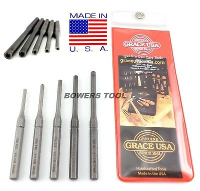 Grace Roll Pin Holder Punch Set 5pc Hollow Center Hole for Springs and Pins USA