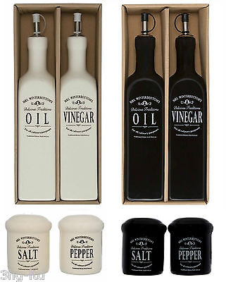 Oil & Vinegar Drizzlers Salt & Pepper Pots Black or Cream Ceramic Tableware New