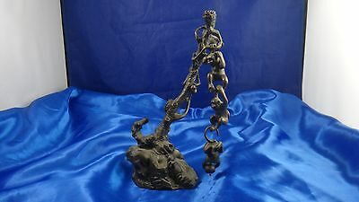 Vintage Antique Bronze Tree With 3 Hanging And Removable Monkeys