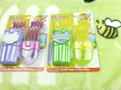 NUBY MEALTIME TRAVEL UTENSIL SET 4 SPOONS & FORKS BPA FREE & COMPACT TRAVELCASE