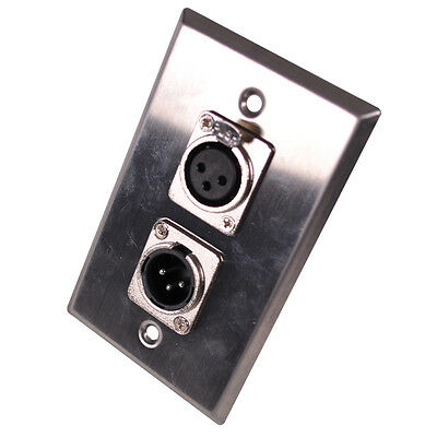 Stainless Steel Wall Plate - One XLR Male and One XLR Female Connector