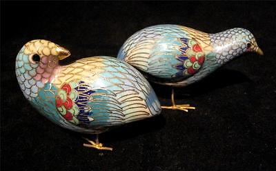 Cloisonne Quail Pair with Gold Metal Wire