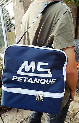 Large Blue MS Petanque bag for two sets of three boules