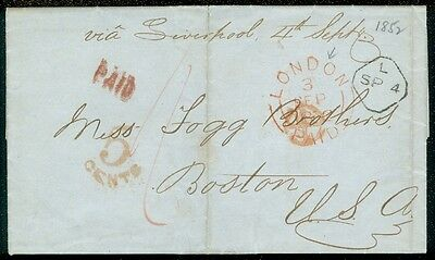 EDW1949SELL : GREAT BRITAIN 1852 Stampless FL London - Boston. Trans-Atlantic.