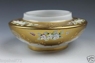 Beautiful Gold Opal Overlay Enameled Flowers Moser Style Glass Bowl