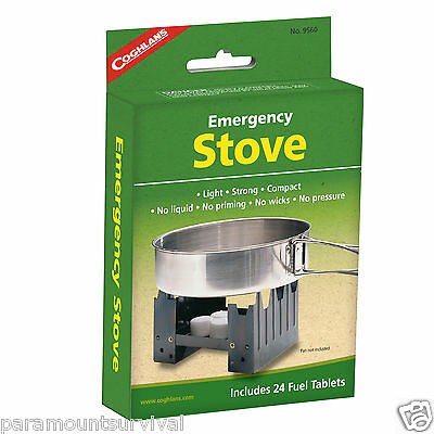 Coghlans Camping Folding Solid Fuel Pocket Stove Emergency Hike W/ 24 fuel tabs