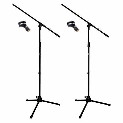 2 X DP Stage MS150 Pro Microphone Boom Stands Free Mic Clip Heavy Duty