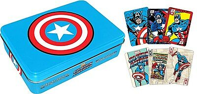 Captain America tin containing two packs of 52 playing cards   (nm)