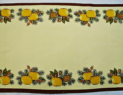 """VINTAGE CHRISTMAS APPLES CONES BROWN GREEN COTTON BLEND TABLE RUNNER:16""""x38"""""""
