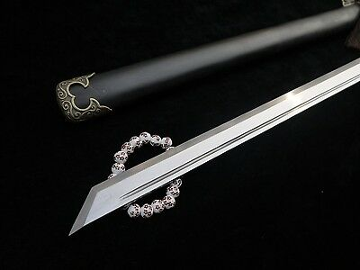 Tang sword pattern steel blade Black wood scabbard handmade alloy Knife fitted