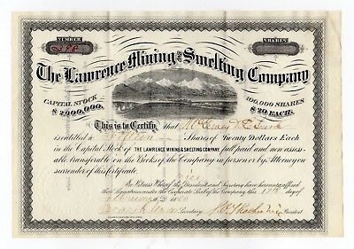 1880 The Lawrence Mining and Smelting Company Stock Certificate