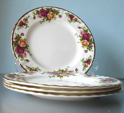 Royal Albert Old Country Roses Salad Dessert Plate Boxed Set of 4 New