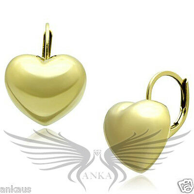 Beautiful Yellow Gold Plated Heart Shaped Hoop Earrings No Stone TK1128