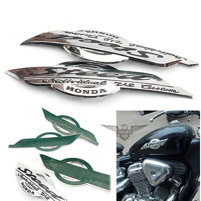 CHROME PLASTIC GAS TANK DECAL BADGE EMBLEM Fit HONDA SHADOW STEED VLX 400 600 VT
