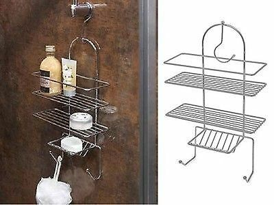 3 TIER Chrome Shower Caddy Organiser Hanging Hook Shelf Basket Tidy Bathroom Tri