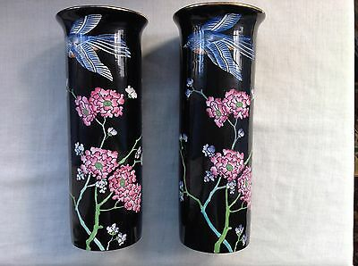 Large Pair Of Cylindrical Art Nouveau Wood & Sons Frederick Rhead Formosa Vases