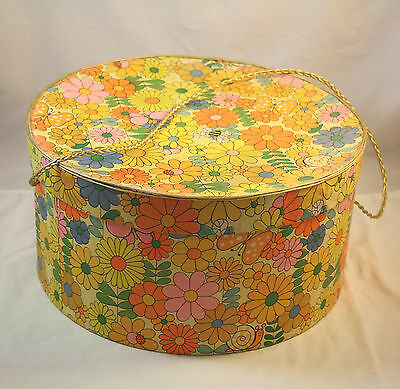Vintage Hat Box Round Retro 1960's Hipster - Flowers Bees Butterflies & Snails