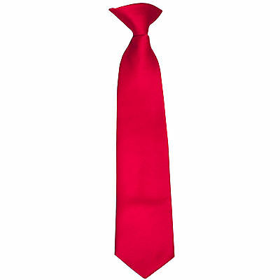 New Kid's Boy's clip on pre tied Necktie Size 4 to 14 wedding formal party Red