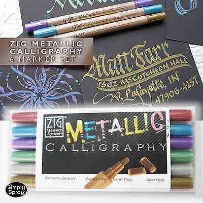 ZIG Metallic  Writer & Calligraphy 6 Double Sided Marker Set for metallic look
