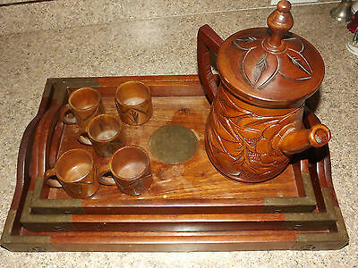 VTG ANTIQUE MAHOGANY NESTING TRAY SET BRASS HARDWARE CARVED WOOD PITCHER TEA CUP