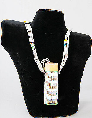 Massai Beaded Necklace with Snuff Container - Kenya - African Tribal Arts