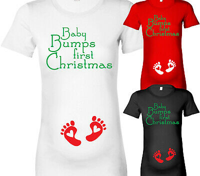Womens Baby Bumps First Christmas Maternity T-Shirt Pregnancy T Shirt Xmas Gift