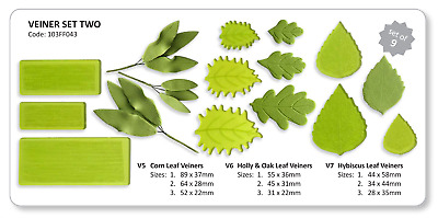 JEM Set of 9 VEINER TWO Foliage Leaf Flower Icing Cutters Cut Outs Sugarcraft
