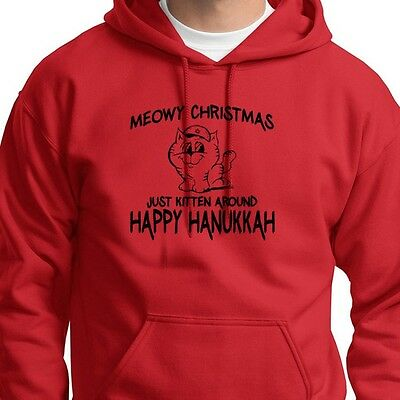 MEOWY CHRISTMAS Just Kitten Around HAPPY HANUKKAH Funny Hoodie Sweatshirt
