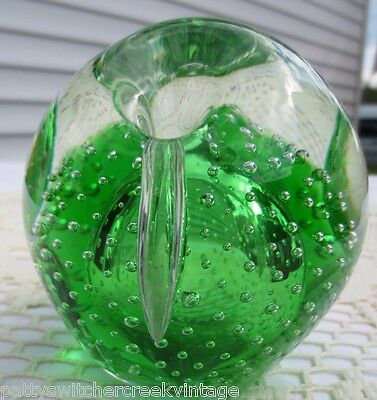 Vintage WV Art Glass PILGRIM Controlled Bubble 3 Dimple Paperweight Cased Green