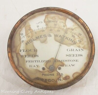 Antique Holmes & Watkins Country Feed Store Owego New York Thermometer