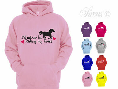 I'd Rather Be Riding My Horse Hoodie Girls Kids Childrens Hoody Equestrian Gift