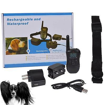 Waterproof 100LV Shock Vibra Remote Rechargeable LCD Pet Dog Training Ring SP2G