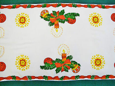 """VINTAGE CHRISTMAS DECORATION GREEN RED YELLOW COTTON BLEND TABLE RUNNER:17""""x33"""""""