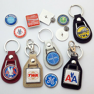 USA AIRLINES - Pan Am, American & More - Real Leather KEY RING Collection - NEW
