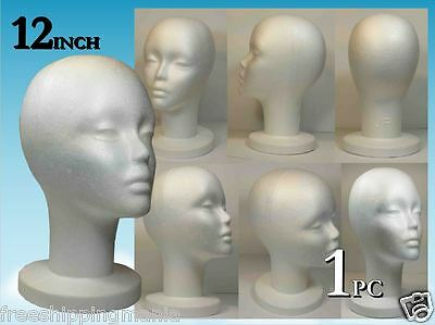 "Wig Styrofoam Head Foam Mannequin Display 12"" (1Pc)"