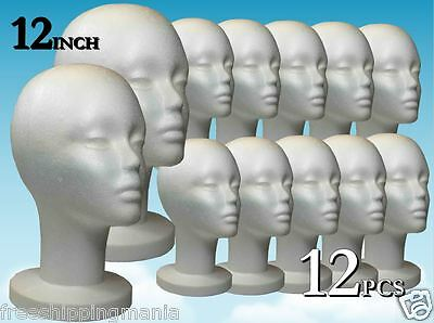 "Wig Styrofoam Head Foam Mannequin Display 12"" (12Pcs)"