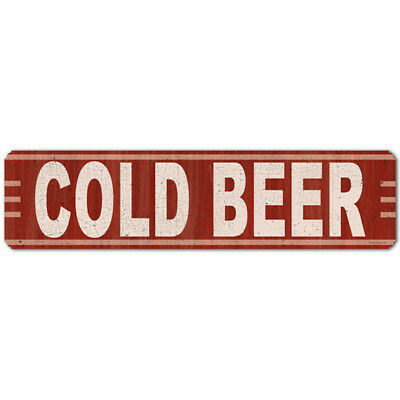 Cold Beer Horizontal Metal Sign Crimson Man Cave Vintage Bar Decor 20 x 5
