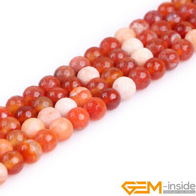 8mm Dzi Fire Agate Gemstone Faceted Round Beads For Jewelry Making Strand 15""