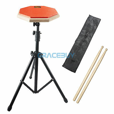 8'' Rubber & Wooden Drum Practice Pad Beginner Silencer Drumpad & Stand Sticks