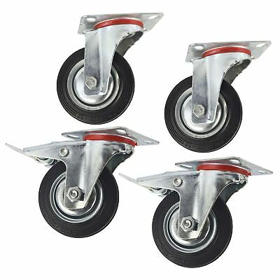 "4"" (100mm) Rubber Swivel and Swivel With Brake Castor Wheel (4Pack) CST04_05"