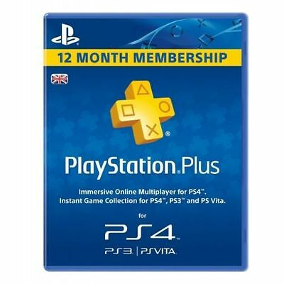PS Plus PSN 1 Year Subscription - PS3 - PS4 & PS Vita SAME DAY DISPATCH