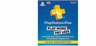 Playstation Plus 90 Days Subscription - PS3 - PS4 & PS Vita SAME DAY DISPATCH