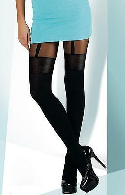"""MOCK SUSPENDER TIGHTS """" BL"""" with  Imitating Stockings pattern"""