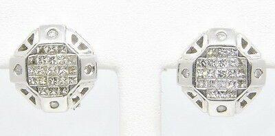 Gents Mens 14k White Gold 1 1/2 Cttw Princess Round Diamond Cluster Earrings