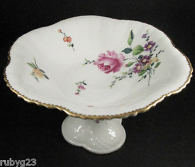 Antique Danish Bing & Grondahl Copenhagen tazza bowl hand painted Saxon Flower