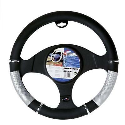 Power Black & Silver Steering Wheel Cover / Glove - Universal 37-39Cm