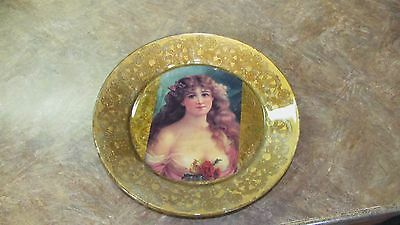 Antique Victorian Lady Portrait Applied Back Goofus Glass Plate