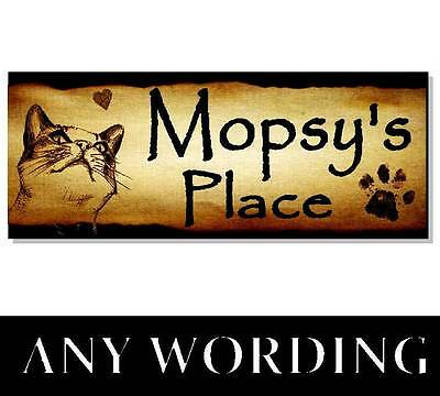 Personalised NAME CAT Sign Plaque House cattery Bed bowl food scratch pole den
